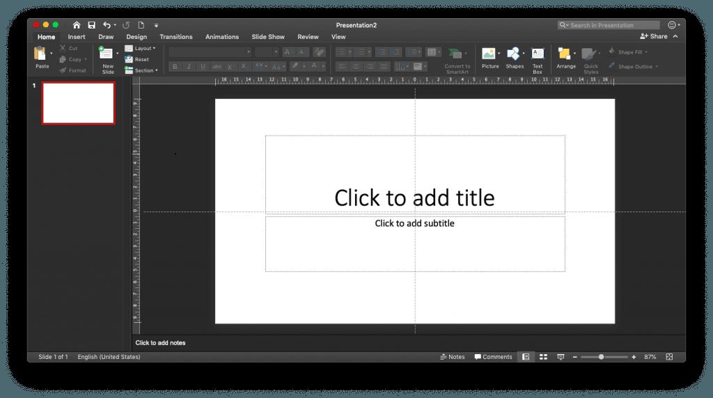 Jendela PowerPoint di MacOS