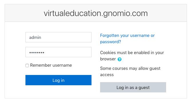 Tampilan login awal moodle dari Gnomio 2