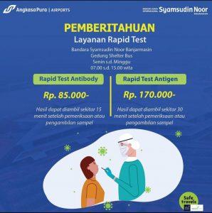 Pemberitahuan Layanan Rapid Test Bandara Syamsudin Noor (BDJ) Banjarbaru
